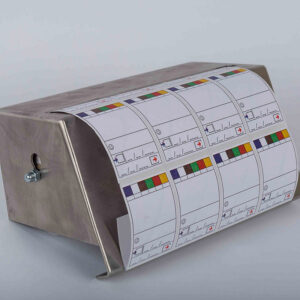 RVS houder DELUXE (wand houder + 1 rol a 1000 labels) (NL)
